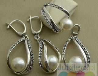 Srebrny komplet perły i kryształki BALENA