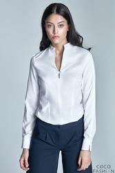 Biała Koszula ze Stójką i Dekoltem V
