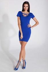 Chabrowa Dopasowana Mini Sukienka z Intrygującym Dekoltem