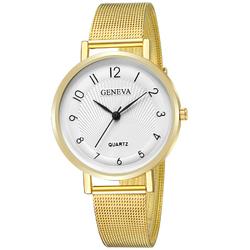 Zegarek DAMSKI GENEVA mesh. złoty biały - GOLD WHITE