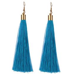 Kolczyki frędzle długie wiszące CHWOSTY niebieskie - 14