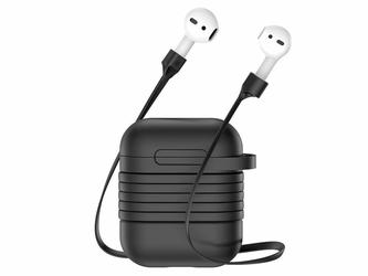 Baseus etui 2w1 pasek strap do Apple Airpods case Black - Czarny