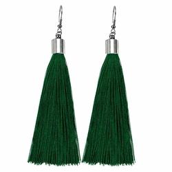 Kolczyki frędzle długie wiszące CHWOSTY zielone - 9