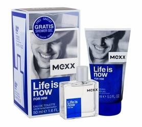 ZESTAW MEXX Life Is Now For Him perfumy męskie - woda toaletowa 50ml + żel pod prysznic 150ml