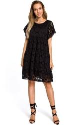 Czarna Luźna Sukienka z Krótkimi Rękawami