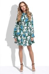 Zielona Sukienka z Kwiatowym Wzorem z Przedłużonym Stanem