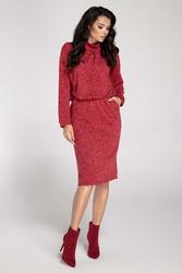 Czerwona Sukienka Midi z Półgolfem