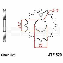 Zębatka przednia JT F520-15, 15Z, rozmiar 525 2200054 Suzuki GSX-R 750, Yamaha TDM 850