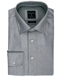 Elegancka jasnoszara koszula Profuomo z klasycznym kołnierzykiem 42