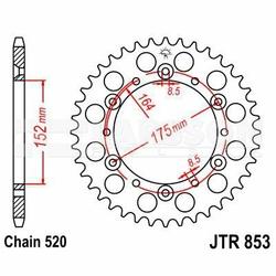Zębatka tylna stalowa JT R853-50, 50Z, rozmiar 520 2302514 Yamaha YZ 400, YFZ 350