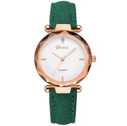 Damski zegarek GENEVA pasek NUBUK ZIELONY - green white