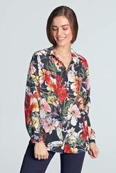 Granatowa Koszula z Długim Rękawem w Kwiaty