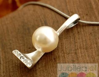 ABERTIS - srebrny wisiorek perła i kryształki