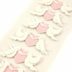 Ślubne naklejki 3D - GOŁĘBIE - 6 sztuk - gołębie