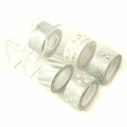 Srebrna taśma dekoracyjna 12 mm3m - 5 sztuk - srebrny