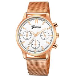 Zegarek MĘSKI Elegancki GENEVA różowe złoto biały - rose gold white