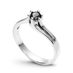Staviori Pierścionek. Diament, kolor czarny, szlif brylantowy, masa 0,25 ct.. Białe Złoto 0,585.