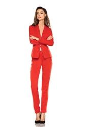 Czerwone Eleganckie Spodnie Garniturowe z Prostymi Nogawkami