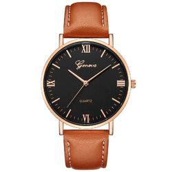 Zegarek MĘSKI GENEVA skórzany KLASYK. brąz czarny - brown gold black