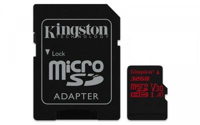 Kingston microSD  32GB Canvas React 10070MBs adapter U3 UHS-I V30 A1