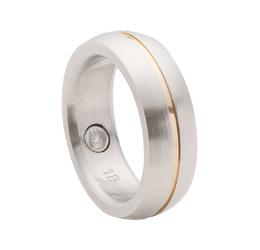 pierścionekobrączka magnetyczna 2143 z pozłacanym delikatnym paskiem pośrodku