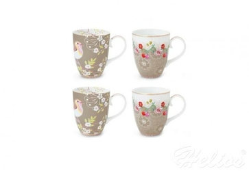 Zestaw kubków 350 ml - Floral  Large khaki 002.153