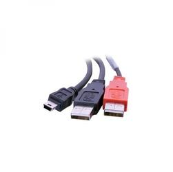 Kabel USB 2.0, USB A  2x M- USB mini 5pin M, 1.8m, czarny, Logo, blistr