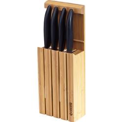 Blok na noże z 4 nożami ceramicznymi Kyocera White 4WHBK