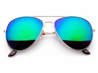 Pilotki okulary aviator Zloto-Zielone lustrzanki 2340