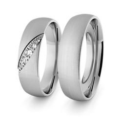 Obrączki ślubne klasyczne z białego złota niklowego 5 mm z brylantami - 95