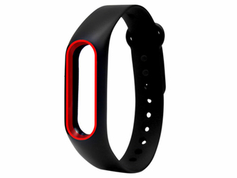 Opaska zamienna pasek guma do Xiaomi Mi Band 2 Czarno-czerwona - Czarny || Czerwony