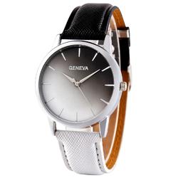 Zegarek damski ombre GENEVA czarny biały - BLACK WHITE