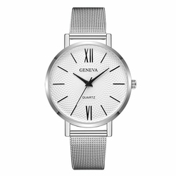Zegarek GENEVA Klasyk wąski pasek MESH silver - silver white