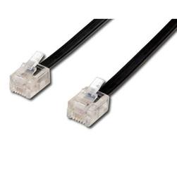 Kabel telefoniczny 4-żyłowy, RJ11 M-6m, czarny, economy, do ADSL modem