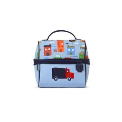 Lunchbox z zamkiem na środku niebieski w autka Penny Scallan