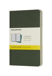 Zeszyty Moleskine Cahier 3 szt. P w kratkę butelkowa zieleń