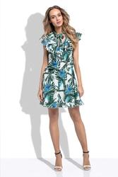 Zielona Letnia Sukienka z Tropikalnym Wzorem z Ozdobnymi Falbankami