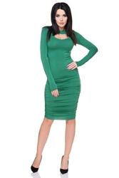 Zielona Sukienka Bodycon z Wycięciem