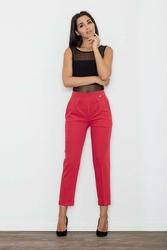 Czerwone Eleganckie Spodnie Cygaretki z Mankietem
