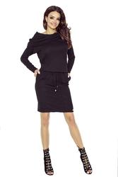 Czarna Matowa Sukienka Krótka Sportowa z Szerokim Golfem