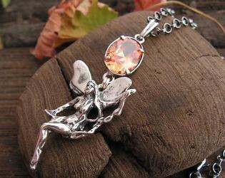 ELFICA - srebrny wisiorek z topazem złocistym