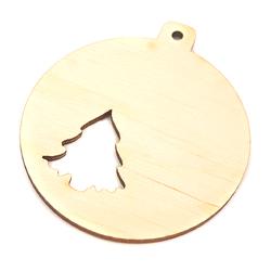 Drewniana dekoracja bombka z choinką - BKBI