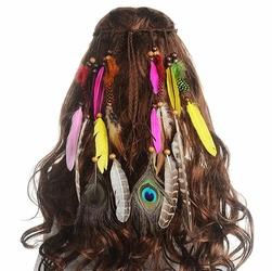 WIANEK OPASKA do włosów KOLOROWA PIÓRA PAW boho