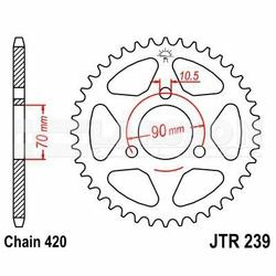 Zębatka tylna stalowa JT 239-38, 38Z, rozmiar 420 2300144 Honda MBX 80