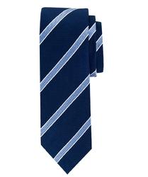 Elegancki granatowy krawat jedwabny w paski