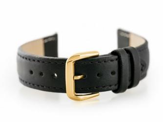 Pasek skórzany do zegarka W30 - w pudełku - czarnyzłoty - 20mm