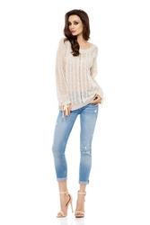 Beżowa Sweter Ażurowy z Kokardkami przy Rękawach
