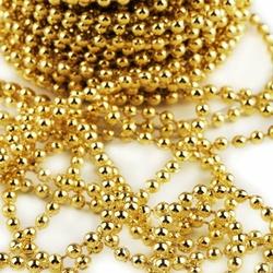 Dekoracyjne perły na sznurku 4mm1m - ZŁOTY - złoty