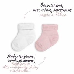 ColorStories Skarpetki bezuciskowe 2 pary białe i różowe 0-3 mies 7-8 cm