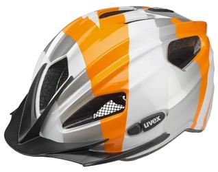 Kask dziecięcy Uvex Quatro Junior srebrno-pomarańczowy 50-55
